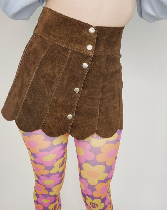 1960's suede petal suede mini skirt. Retro hippie