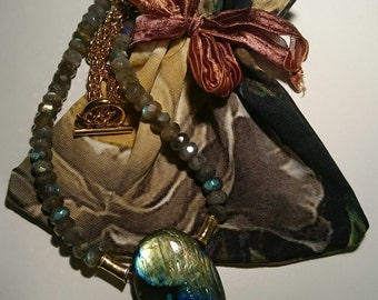"Free shipping labradorite necklace ""Rainbow Fire"" gift idea"