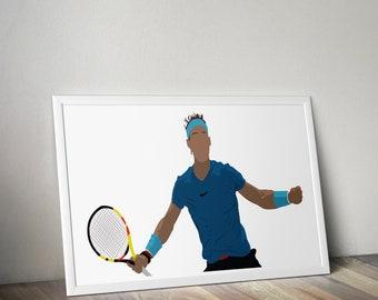 96bda8e5 Rafael Nadal Poster - Tennis - Digital Print - Wall Art - Gift