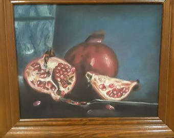Pomegranate Still Life.  Chalk Pastel was used as the media.