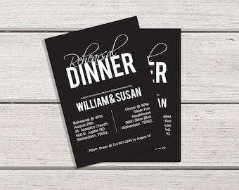 Personalized Dinner Invitation, Rehearsal Dinner Invitation, Rehearsal Dinner, Wedding Stationery, Dinner Invite, Printable Invitation
