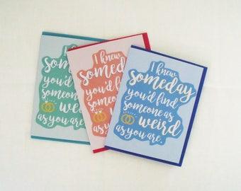 Wedding card, gay wedding, lesbian wedding, engagement card, congratulations, best wishes, weird friend, friendship card