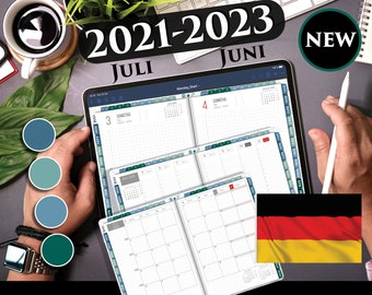 2021 2022 Deutschland Digitaler Tagesplaner, Wöchentliche, Monatliche Planung Germany