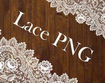 Lace Сlipart Png overlay set Wedding borders Digital White Textures Transparent Scrapbook clip art