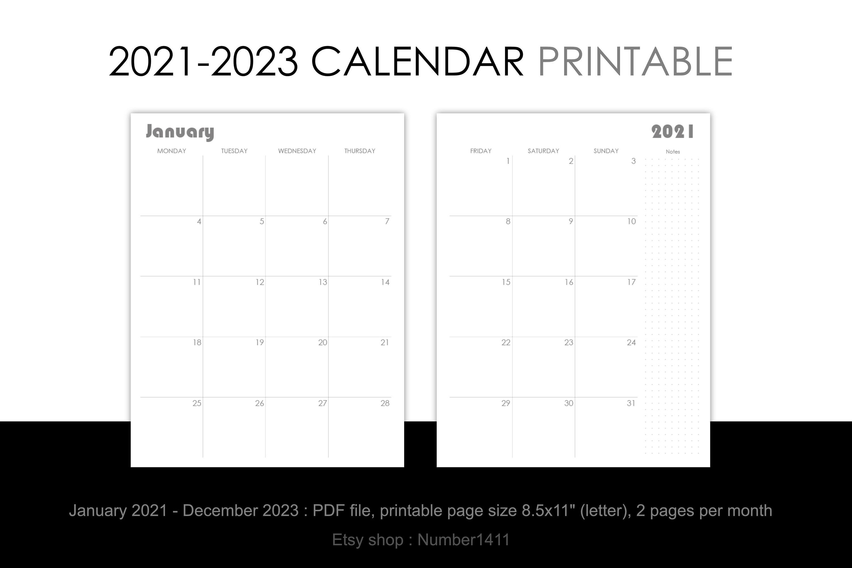 Printable Calendar 2021 2022 2023 Monthly Planner For 36 Etsy