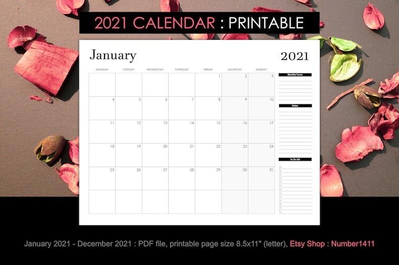 Printable calendar 2021 for 12 months black & white size ...
