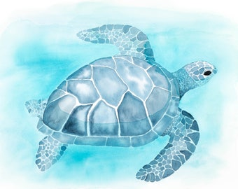 Turtle Blue giclee print