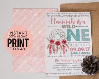 Instant Download: Wild OneInvitation | Birthday Invitation | Instant Download | Edit it yourself! Print at home! | WildOne001