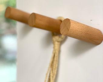 "Minimalist Modern Handcrafted Beech/Walnut Wood Wall Mount Peg ~ Single Hat, Towel, Bag Purse Hook - Angle size 2"" & 3"", (4"" hangs straight)"