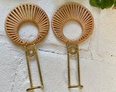 Set of 2 Beautiful Gold Color Metal Wrapped in Wicker Wall hook Modern Boho Decor