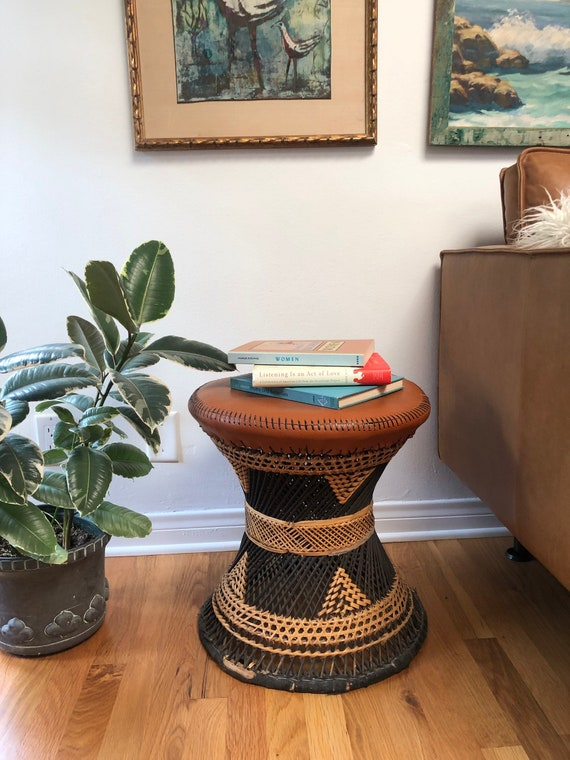 Brilliant Vintage 2 Tone Light Dark Wicker Stool Planter Pdpeps Interior Chair Design Pdpepsorg
