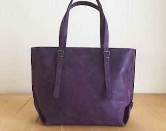 23c540a4fb0 Faux Leather Purple Tote Bag - Vegan Handbag - Water Resistant - Vegan  Leather - Rustic Leather - Distressed Leather - Boho Bag - Gift