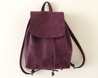 Faux Leather Burgundy Backpack - Vegan Backpack - Water Resistant - Vegan Leather - Rustic Leather - Distressed Leather - Boho Bag - Gift