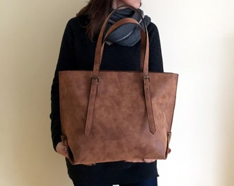 fe72fbcf5e8e Faux Leather Brown Tote Bag - Vegan Handbag - Water Resistant - Vegan  Leather - Rustic Leather - Distressed Leather - Boho Bag - Gift