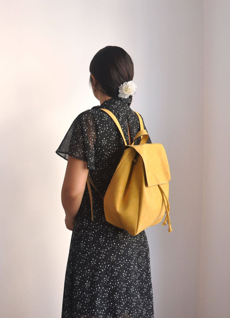 3c84210f81 Faux Leather Yellow Backpack Vegan Backpack Water