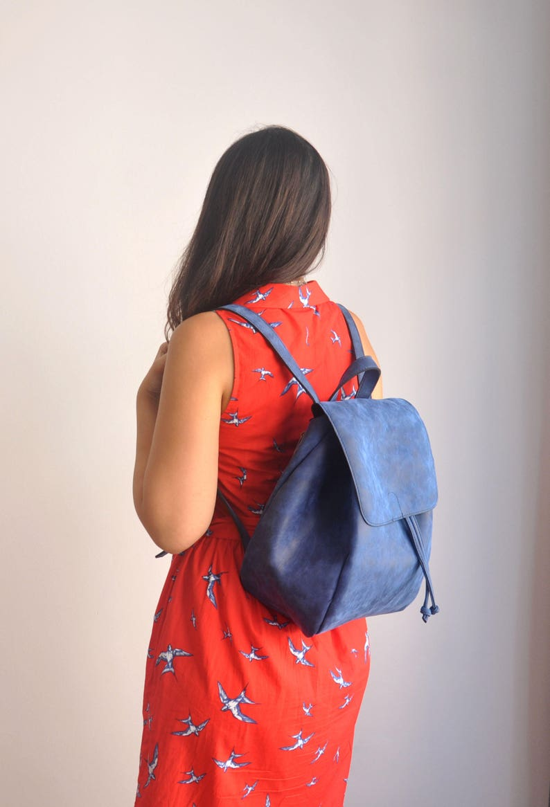 d74d2a60c7 Faux Leather Blue Backpack Vegan Backpack Water Resistant