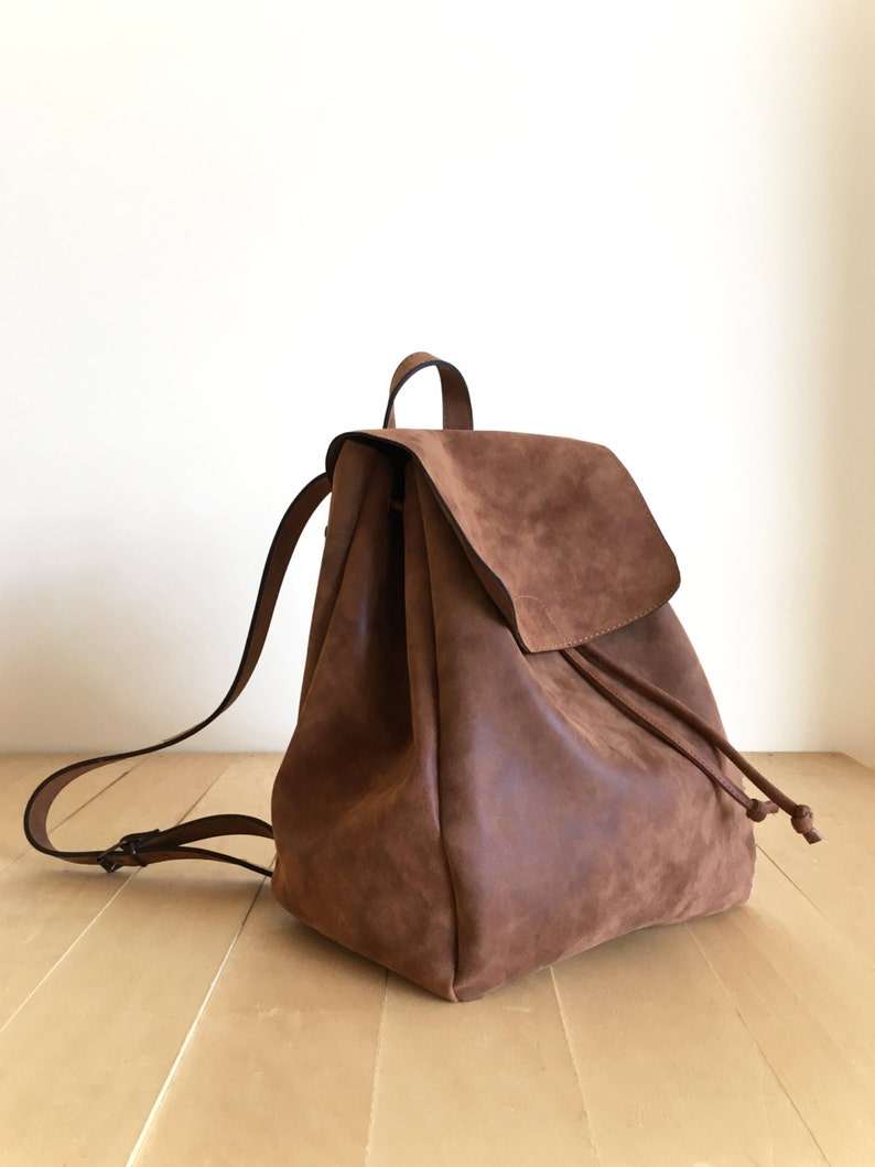 Faux Leather Brown Backpack  Vegan Backpack  Water Resistant image 0