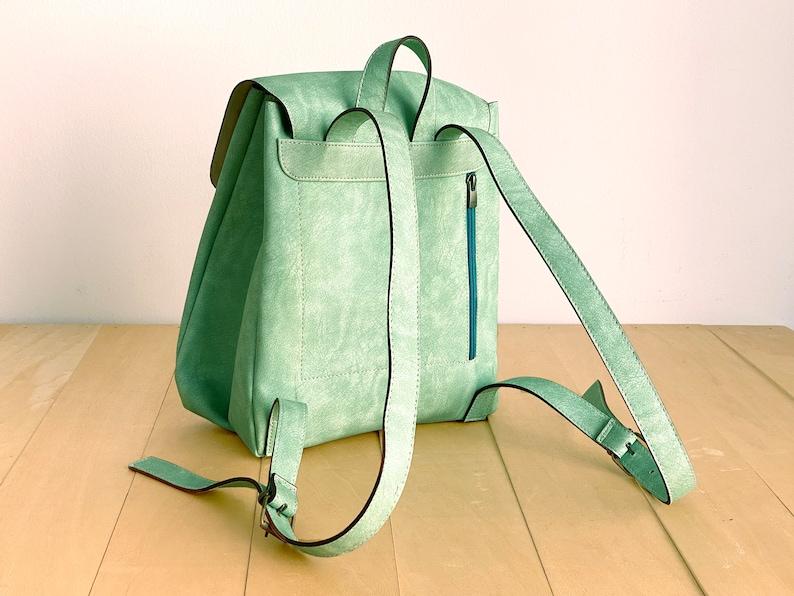 Mint Green Backpack Vegan Leather Summer Bag Vegan Backpack Water Resistant Distressed Leather Rustic Leather Aqua