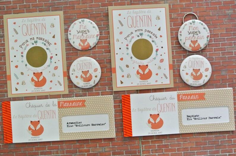 Kit cadeaux parrain marraine thème renard - Créateurs ETSY : LittlePopStudioFR