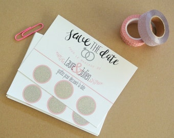 Save the date card scratch customizable