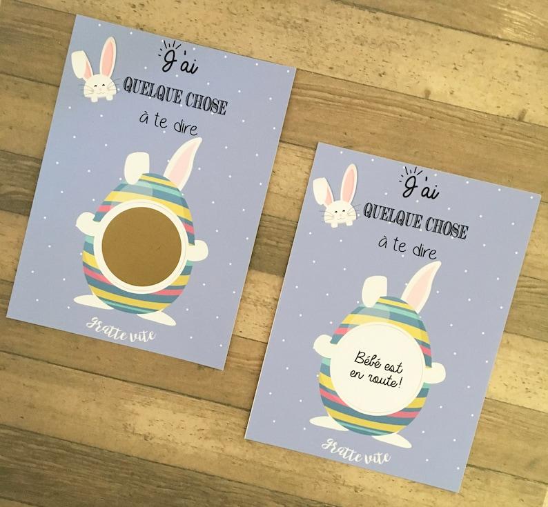 Annoncer sa grossesse à Pâques à l'aide de carte à gratter petit lapin | A découvrir sur le blog : babyshowercreative.com
