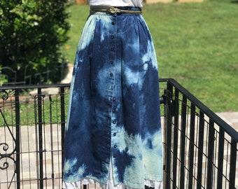 24283607730 FREE US SHIPPING denim skirt vintage denim skirt treated denim marble wash  denim fab208nyc fab208 lace insert denim skirt bleach treatment