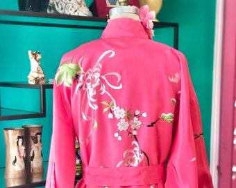 VINTAGE EMBROIDERED ROBE/pink rayon robe/floral embroidery/vintage pink kimono/boho kimono robe/fab208nyc/fab208/boho chic day coat/boho