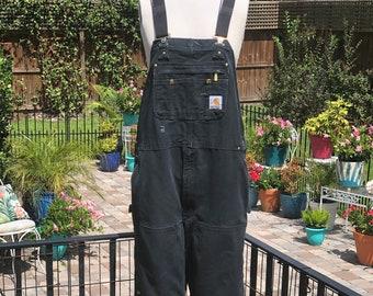 VINTAGE CARHARTT OVERALLS/42'X32'/black carhartt overalls/black canvas overalls/vintage workwear/snap leg overalls/fab208nyc/fab208/carhartt