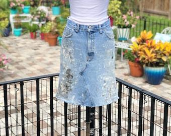 RECYCLED DENIM SKIRT/dirty denim skirt/ jean skirt with paint/vintage denim skirt/painter pant skirt/fab208nyc/fab208/handmade jean skirt