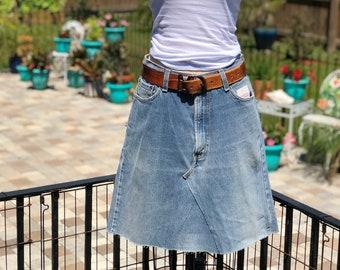 Recycled vintage distressed skirt