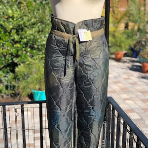 Vintage Quilted Liner Pants High Waist Insulated Pants XS S M