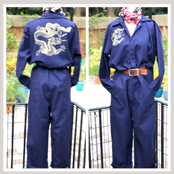 FREE US SHIPPING/dragon coveralls/gold dragon prin