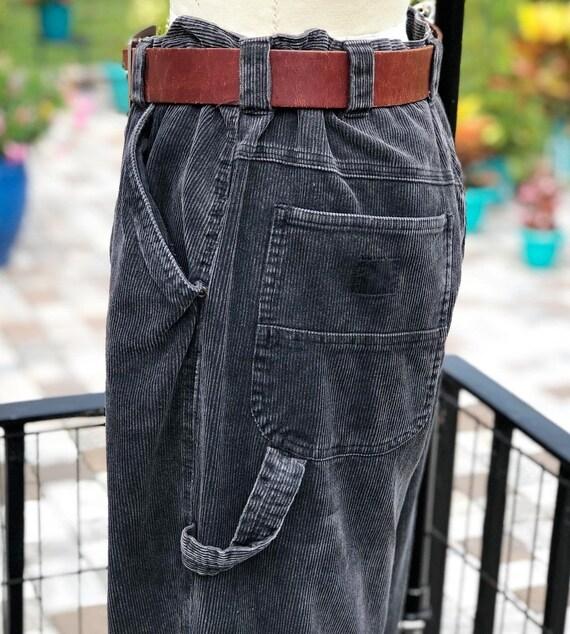 FREE US SHIPPING/corduroy carpenter pants/black co