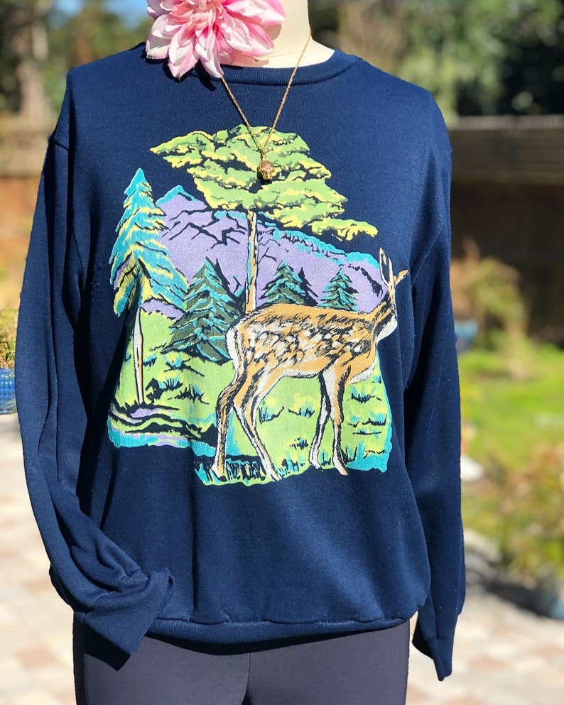 VINTAGE SWEATSHIRT80s sweaterbambi sweatshirtvintage sweatshirtblue sweatshirtboho sweatshirtdeer and mountains printfab208nycfab208