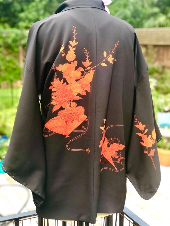 VINTAGE KIMONO JACKET/red black kimono jacket/Haor