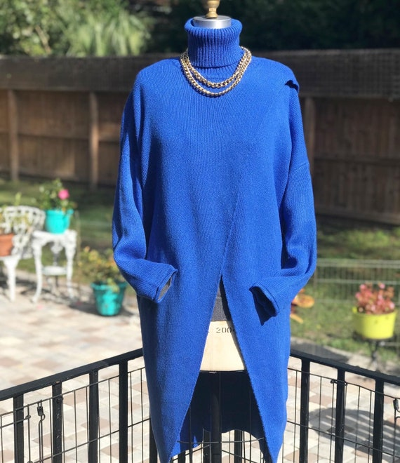 FREE US SHIPPING/blue sweater tunic/80s sweater dr