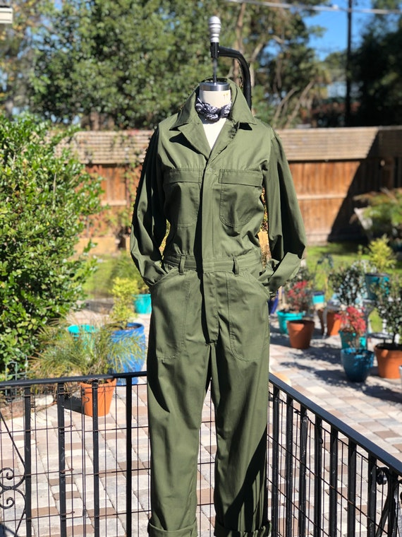 VINTAGE MILITARY COVERALLS/army green coveralls/ m