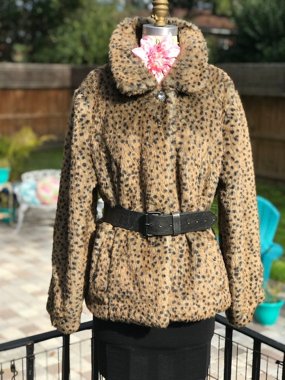 VINTAGE LEOPARD JACKET/faux fur jacket/vintage fak