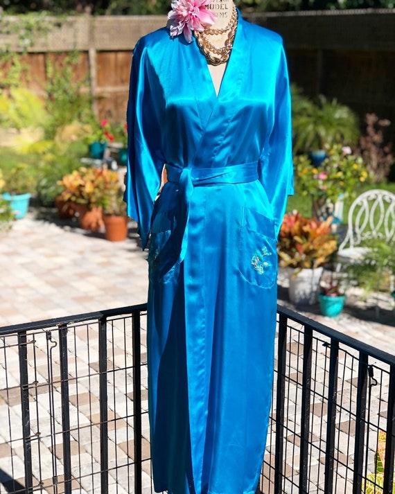 VINTAGE SATIN KIMONO/boho robe/turquoise satin rob