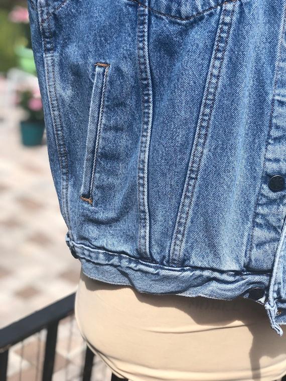 VINTAGE DENIM VEST/90s denim jacket vest/sleevele… - image 3