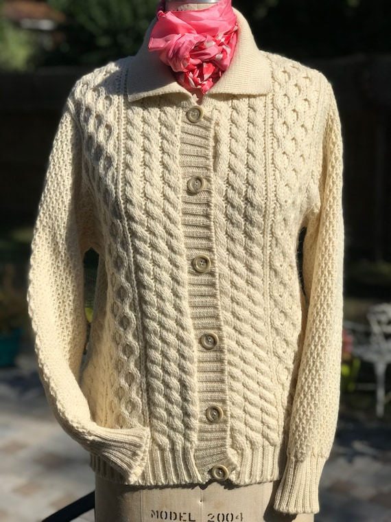VINTAGE CARDIGAN/Cable knit sweater/vintage sweate