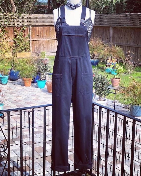 VINTAGE OVERALL/dark blue cotton overalls/Italian
