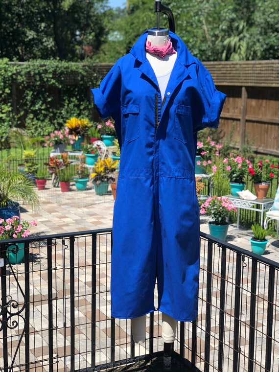 VINTAGE COVERALL SHORTS/xxl royal blue coverall sh