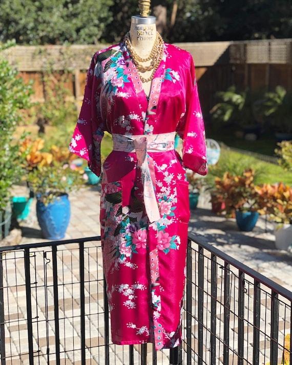 VINTAGE KIMONO/satin robe/satin kimono/vintage kim