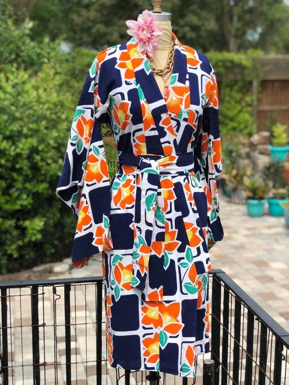 VINTAGE YUKATA KIMONO/Japanese kimono/cotton kimon