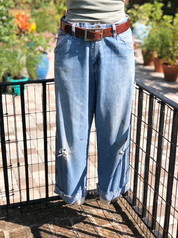 VINTAGE FADED JEANS/vintage carpenter pants/faded