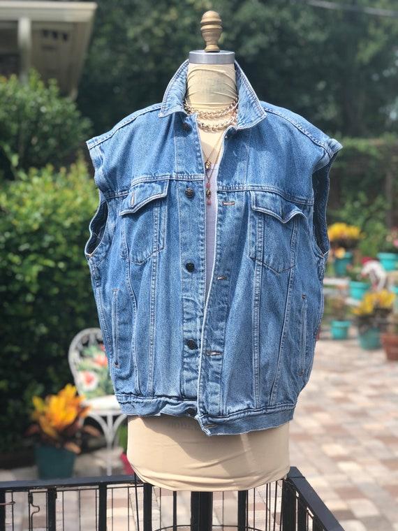 VINTAGE DENIM VEST/90s denim jacket vest/sleevele… - image 8