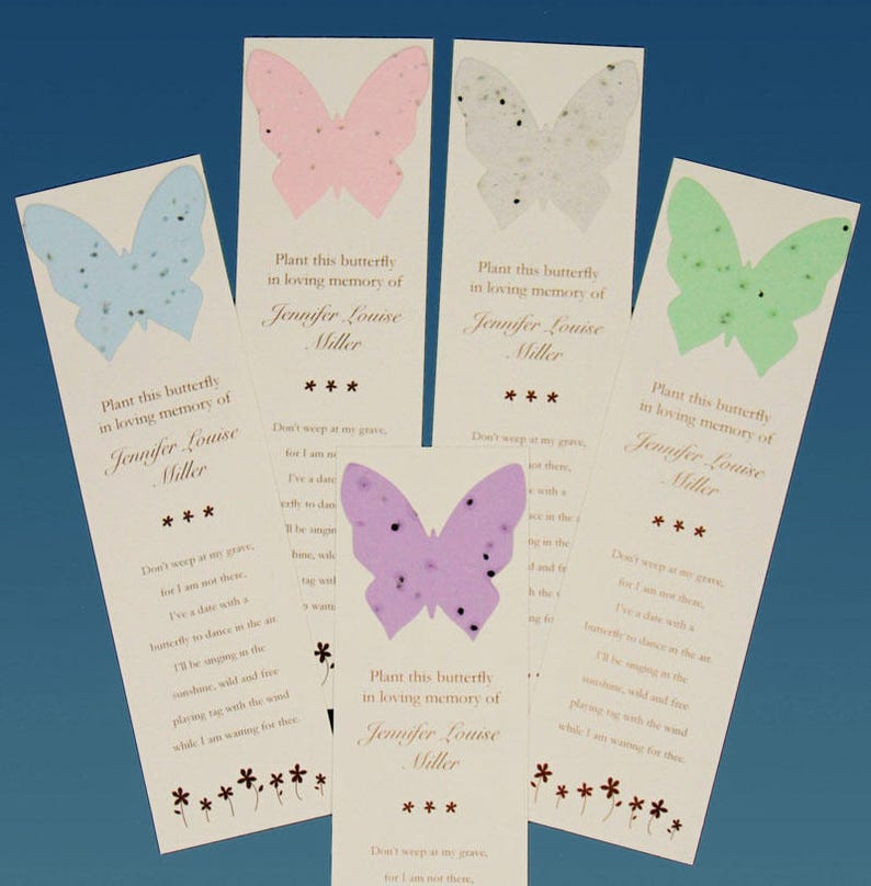 Butterfly Memorial Bookmarks with Seeds image 0