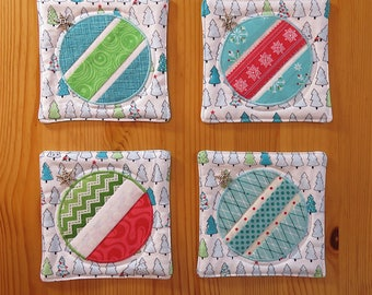 christmas coasters quilted original contemporary design holiday decor tealaquaredgreenwhite set of 4 - Teal And Red Christmas Decorations