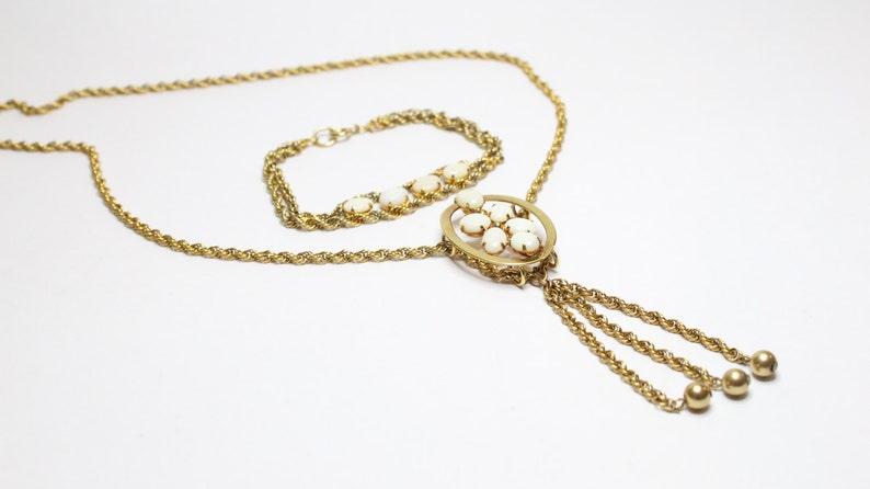 Vintage 1960's 12k Gold Filled Australian Opal Necklace and Bracelet Set
